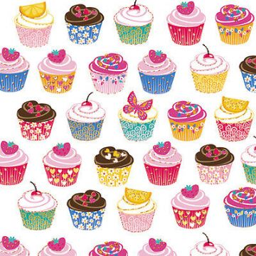 "BIRTHDAY CARD ""CUP CAKES DESIGN"" LARGE SQUARE SIZE 6.25"" x 6.25"" SQBI 0006"
